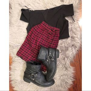 Forever 21 black and red checkered skirt